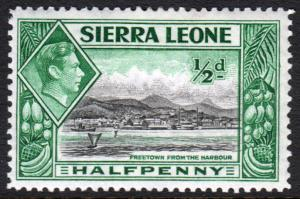 Sierra Leone KGVI 1938 0.5d Black Blue-Green SG188 Mint Hinged