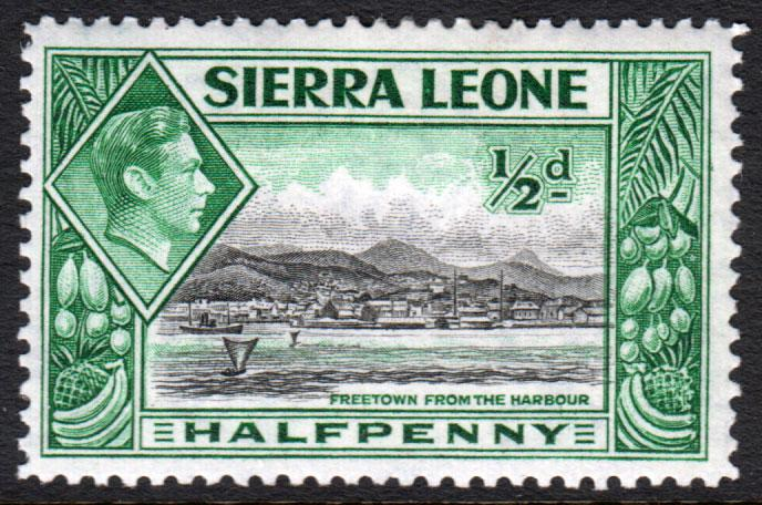 Sierra Leone KGVI 1938 0.5d Black Blue-Green SG188 Mint Hinged