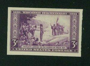 US 1935 3c deep purple Wisconsin Imperf, Scott 755 Mint NGAI, Value = 60c