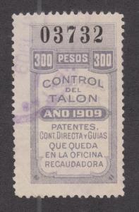 Argentina, Santa Fé, Forbin 318A used 1909 300p General Tax Fiscal, Talon half