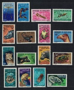 Upper Volta Elephant Hippo Leopard Insects Fauna 16v COMPLETE 1966 MNH