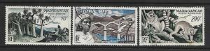MALAGASY REPUBLIC, C58-C60,USED, ANIMAL TYPE