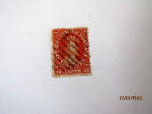 New Brunswick #9, Queen Victoria, U/G, 10 cent, Space Filler-thin spot,1860
