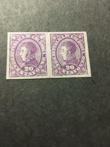 Colombia 2016 Scott #141a Mint 20 centavo Imperf. Pair - Gum Dist. Cat. $9.25VFH