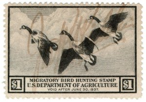 (I.B) US Revenue : Duck Hunting Stamp $1 (1936)