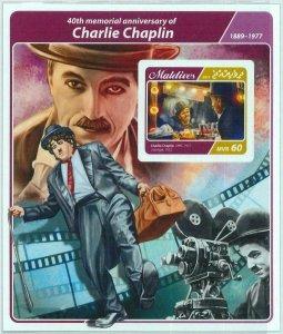 A1062 - MALDIVES  - IMPERF, Souvenir sheet: 2017, Charlie Chaplin, Cinema
