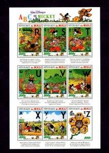 MALI - 1996 - DISNEY - MICKEY MOUSE - MICKEY'S ABC's - # 3 - MINT - MNH SHEET!
