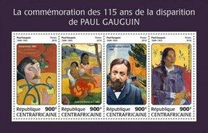 Central Africa - 2018 Paul Gauguin - 4 Stamp Sheet - CA18211a
