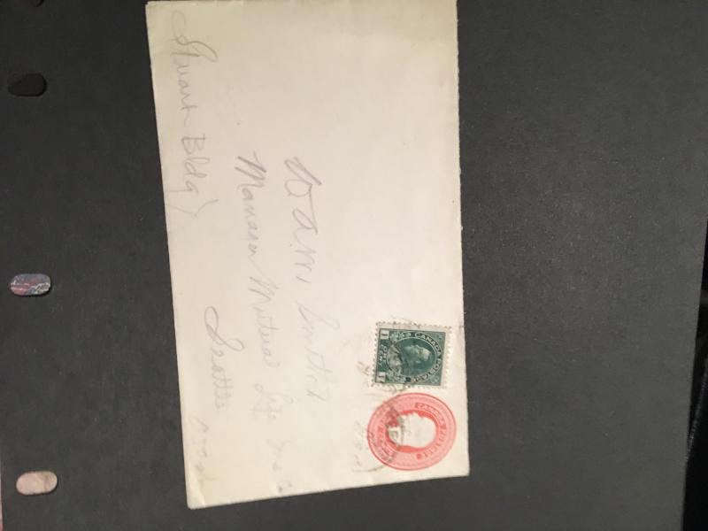 Canada to USA 2c Edward Postal Stat. Envelope With 1c Green Admiral to Seattle
