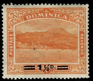 DOMINICA SG60, 1½d on 2½d orange, LH MINT.