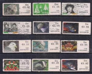 GB Ireland QE2 Selection of 12 Post and Go's used stamps - F1402