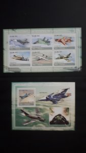 Airplanes - History of Aviation 5 - Mozambique 2009 - Complete SS + Bl ** MNH