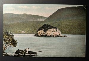 Vintage Devils Island Lake killarney to England Real Picture Postcard Cover