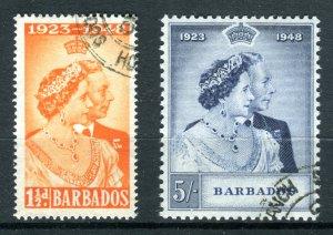 Barbados 1948 KGVI. Silver Wedding set of 2. Used. SG265/266.