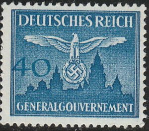 Stamp Germany Poland General Gov't Official Mi 33 Sc NO33 1943 WW2 Emblem MNH