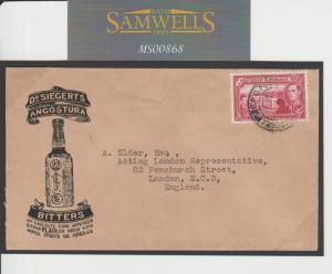 MS868 1944 Trinidad & Tobago Advert Bottle. Angostura Bitters. Mixer cocktails