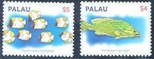 PALAU  $4 & $5 FISH DEFINITIVES HARLEQUIN GROUPER BUTTERFLYFISH  SET  MINT NH