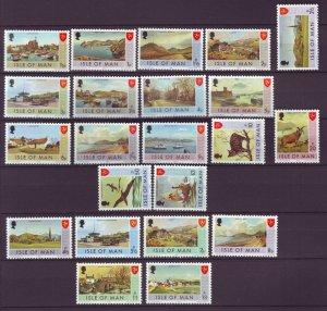 J21970 Jlstamps 2 1973,75 isle of man sets mnh #12-27,52-9 designs