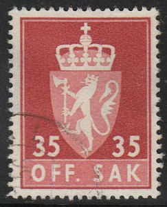 Stamp Norway Official Sc O071 1955 Dienst Coat Arms Used