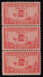 US STAMP #649 – 1928 2c Wright Brothers Airplane  MNH/OG STRIP OF 3