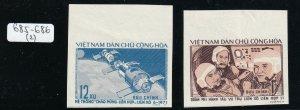North Viet Nam - 1972 - Sc 685 - 686 - Fl. of Soyuz 11 - Imperf - MNH - #2