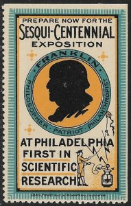 USA 1926 SESQUI-CENTENNIAL EXPOSITION Ben Franklin Kite Electricity Label MNH