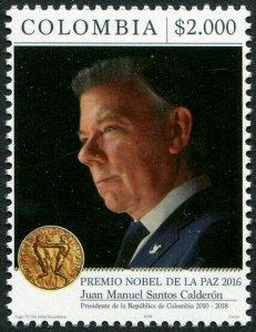 HERRICKSTAMP NEW ISSUES COLOMBIA Sc.# 1486 Calderon, Nobel Peace Prize