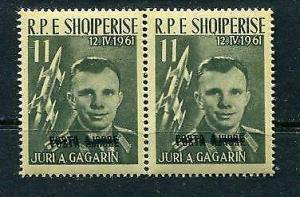 Albania 1962 Gagarin Double Black Overprint  ERROR Pair MNH Sc 606 note 6581
