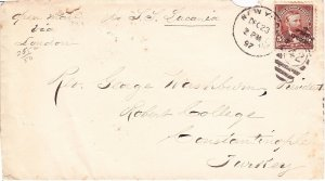 US 255 on Cover from New York to Constantinople Turkey OPEN MAIL S.S. Lucania