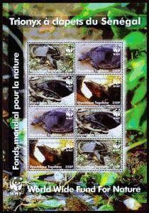 Togo Scott 2039 (2006) World Wildlife Fund, Turtles Souvenir Sheet, Mint NH VF C