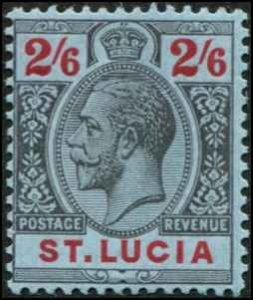 St Lucia SC# 74 KGV 2sh6d  MH with mount