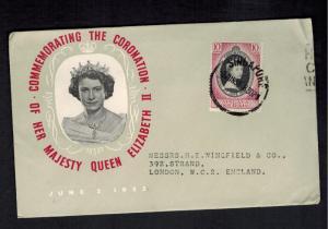 1953 Malaya Kedah Coronation England first day cover QE2 Queen Elizabeth II