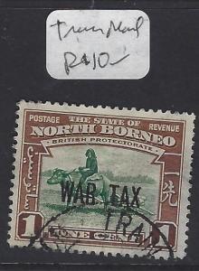 NORTH BORNEO  (P1209B)  1C COW WAR TAX  SG  318  TRAIN MAIL  CANCEL  VFU