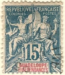 Guadeloupe SC #34 French Colony Fine Used hr.....Make me an Offer!