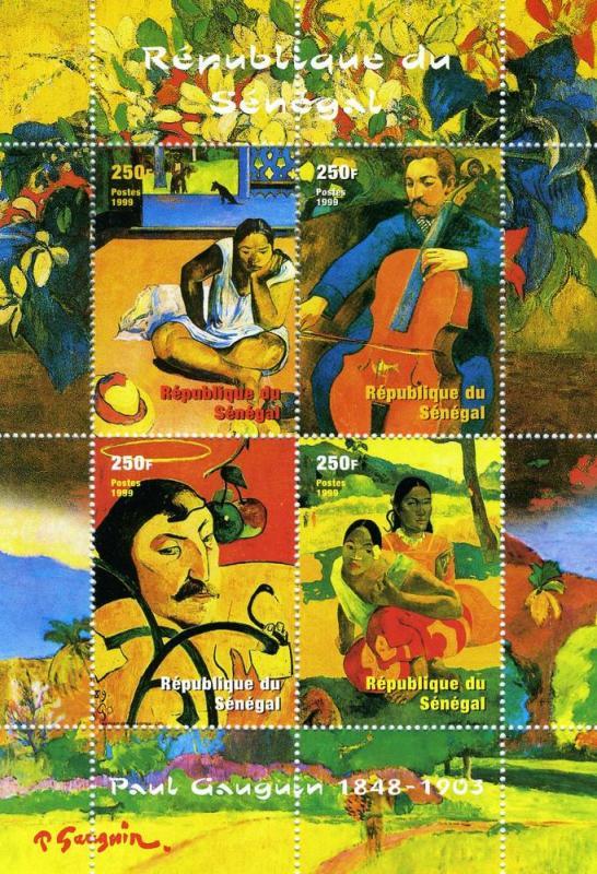Senegal 1999 PAUL GAUGUIN Paintings Sheet Perforated Mint (NH)