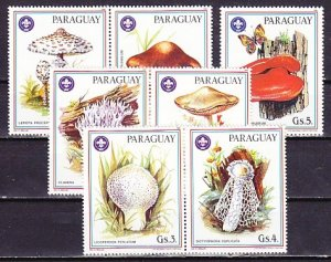 Paraguay, Scott cat. 2166 a-f, 2167. Mushrooms with Scout Logo issue. ^