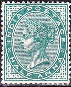 INDIA 1883 QV 1/2 Anna Deep Blue Green SG84 MH