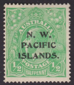 Half pence KGV Bright Green - NORTH WEST PACIFIC ISLANDS OVERPRINT - UNUSED OG