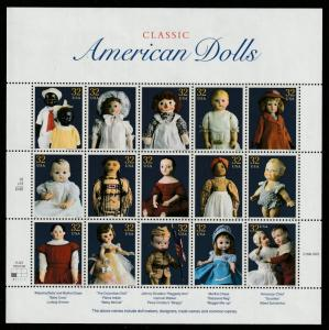 US Sheet of 15, Scott# 3151, MNH, Dolls, doll makers, designs, trade names