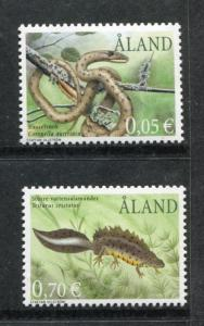 Aland 193, 198, MNH, 2002, Rare Amphibians, Smooth Snake . x23329