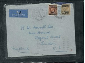 MOROCCO COVER (PP2912B) 1936 KGV 2 STAMP COVER CASABLANCA TO ENGLAND
