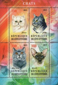 Chad Cats Main Coon Domestic Animal Souvenir Sheet of 4 Stamps Mint NH