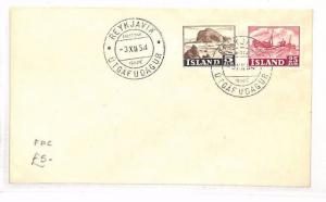 ICELAND First Day Cover Reykjavik FDC SHIPS 1954 {samwells-covers} BF186