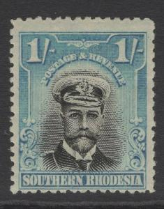 SOUTHERN RHODESIA SG10 1924 1/- BLACK & LIGHT BLUE MTD MINT