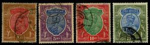 1911-23 India #94-97 King George V Wmk 39 - Used - F/VF+ - CV$62.25 (ESP#3843)