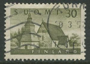 Finland - Scott 336 - Church of Lammi -1956- Used - Single 30m Stamp