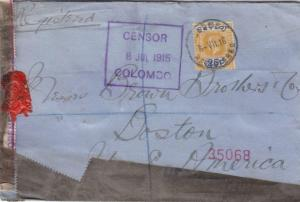 1915, Colombo, Ceylon to Boston, MA, Censored, See Remark (C2997)