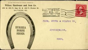 #267 BALTIMORE, MD TO SOUTHINGTON, CONN JAN 29, 1900 STRAIGHTLINE CANCEL BN3384