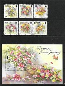 JERSEY, 872-877,878, MNH, FLOWERS