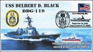 20-266, 2020, USS Delbert D Black, Event Cover, Pictorial Postmark, DDG-119,